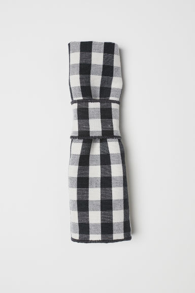 Checked linen-blend napkin - Anthracite grey/Checked - Home All | H&M CN