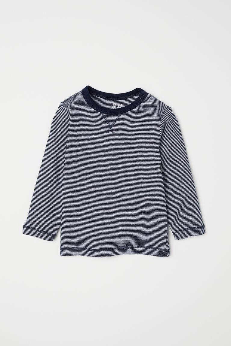Jersey top - Dark blue/Narrow striped - Kids | H&M CN