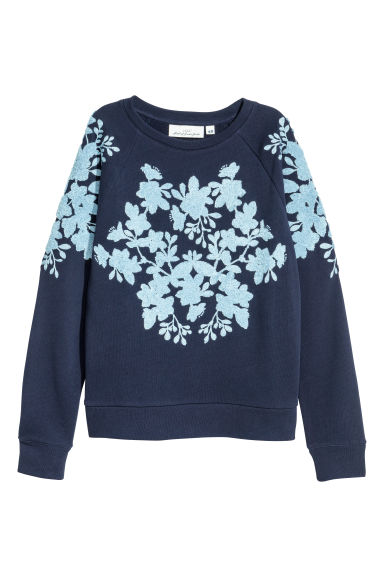 Sweatshirt with appliqués - Dark blue - Ladies | H&M GB