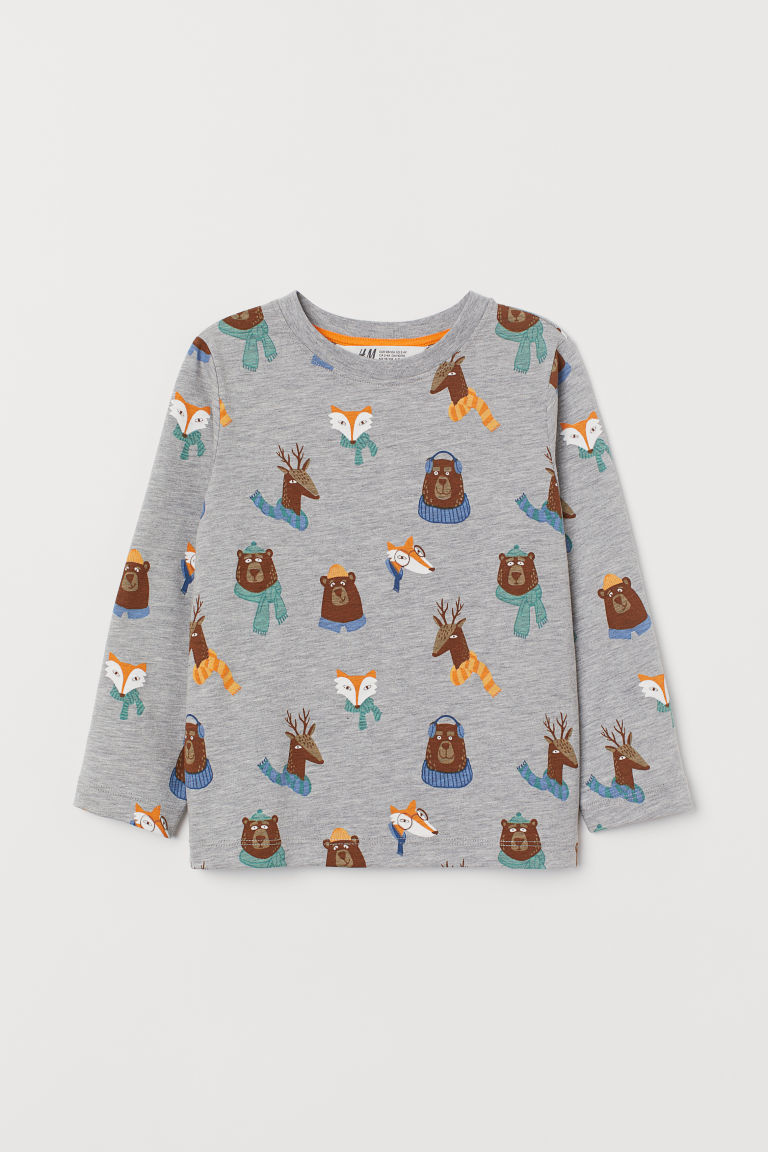 Printed jersey top - Grey marl/Animals - Kids | H&M