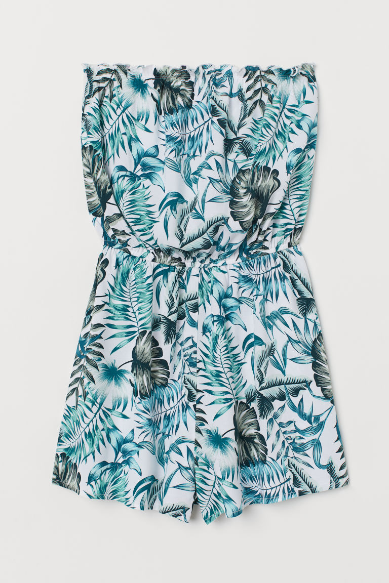 Strapless playsuit - White/Leaf-patterned -  | H&M