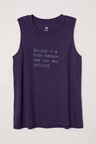 Sports vest top - Dark purple - Ladies | H&M