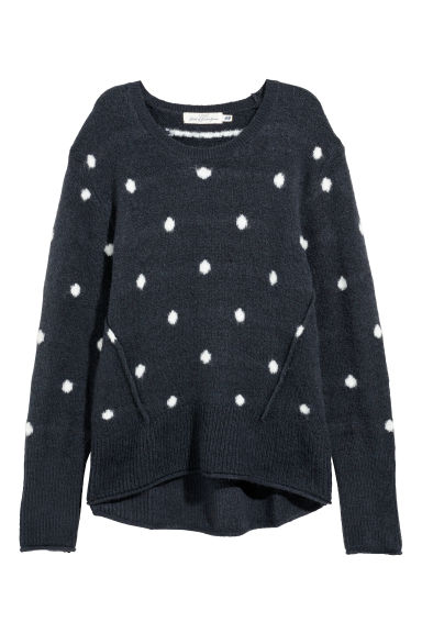 Knitted jumper - Dark grey-blue/Spotted - Ladies | H&M GB