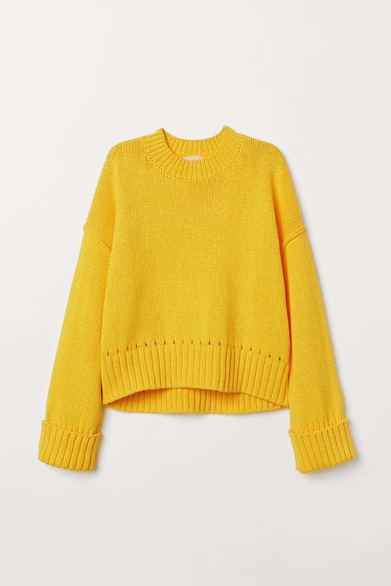 Knitted cotton jumper - Yellow - Ladies | H&M GB