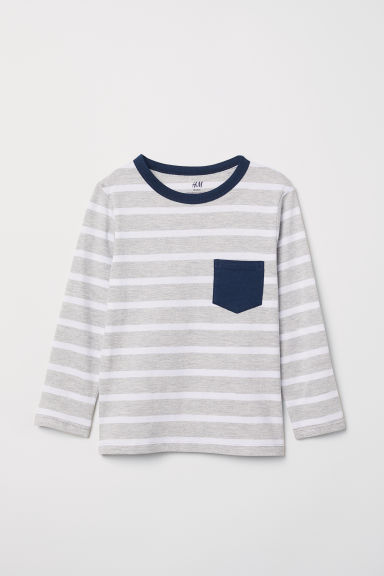Jersey top - Grey marl/White striped - Kids | H&M