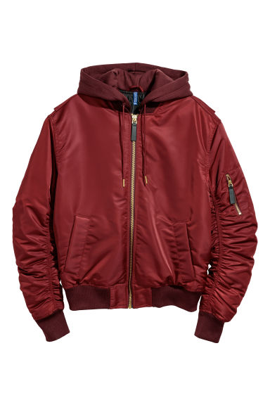 Padded bomber jacket - Burgundy - Men | H&M CN