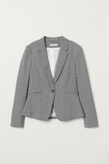 Fitted Blazer - Black/houndstooth-patterned - Ladies | H&M US