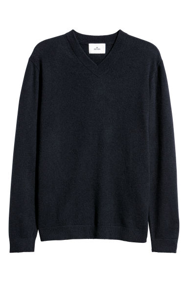 V-neck cashmere jumper - Dark blue -  | H&M