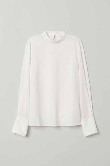 Blouse with a stand-up collar - White -  | H&M