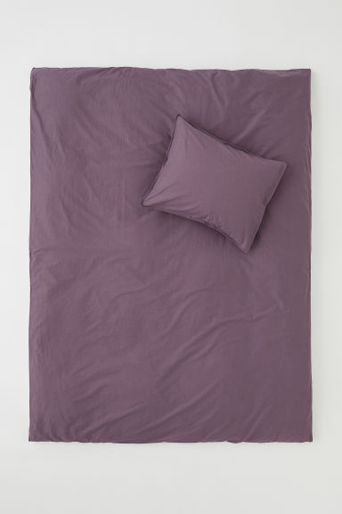 Washed cotton duvet cover set - Purple - Home All | H&M CN