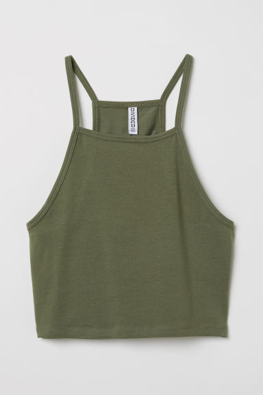 Short strappy top - Khaki green -  | H&M CN