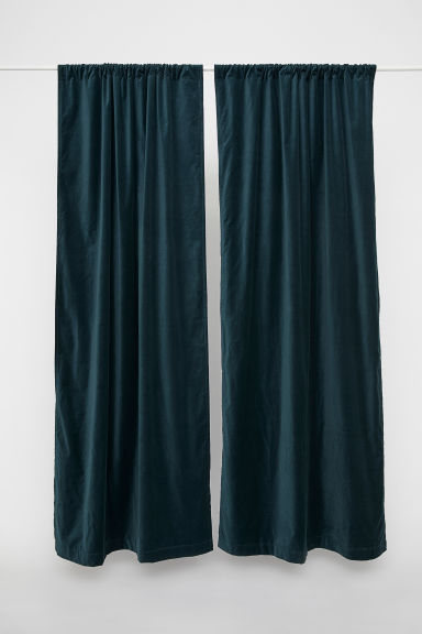 2-pack Velvet Curtain Panels - Dark green -  | H&M US