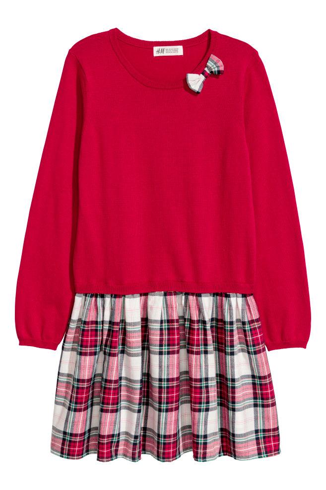 4cd9453527b4 Šaty z jemného úpletu - červená károvaná - DETI