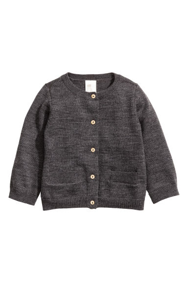 Merino wool cardigan - Dark grey marl -  | H&M