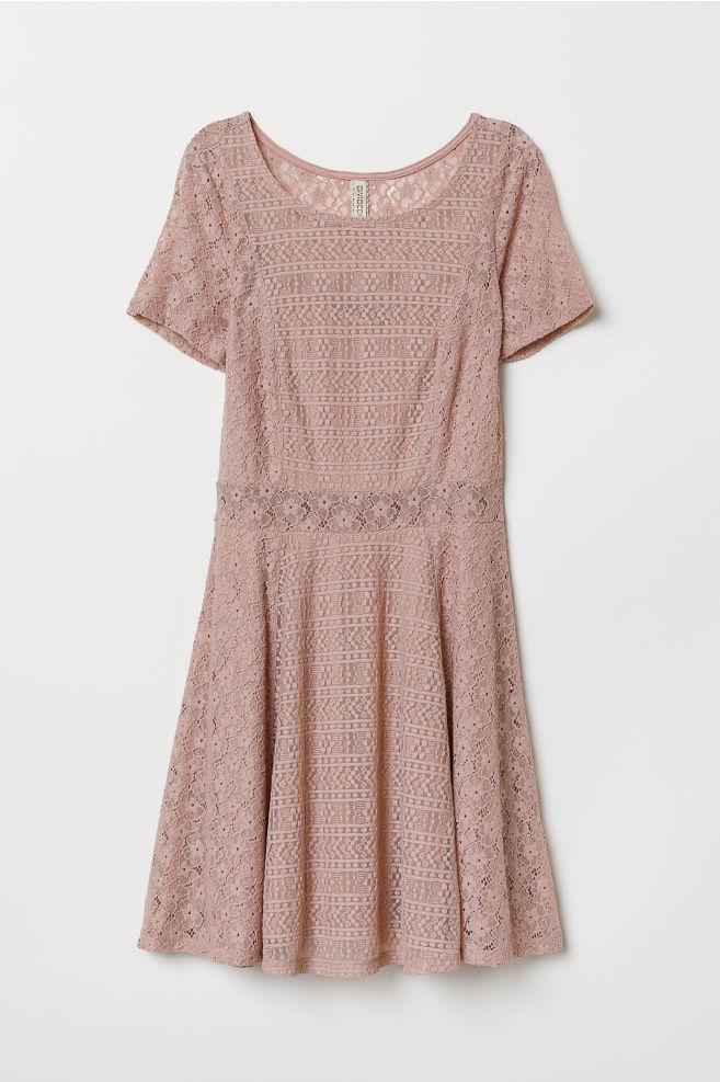 0a8225be06ea8 Kısa Dantel Elbise - Vintage pembe - | H&M ...