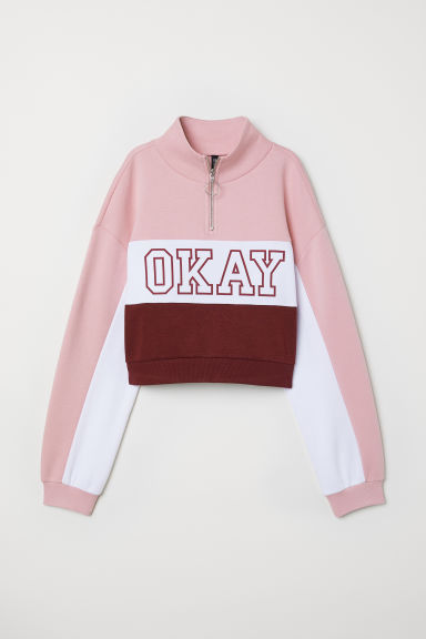 Stand-up collar sweatshirt - Light pink/Okay -  | H&M
