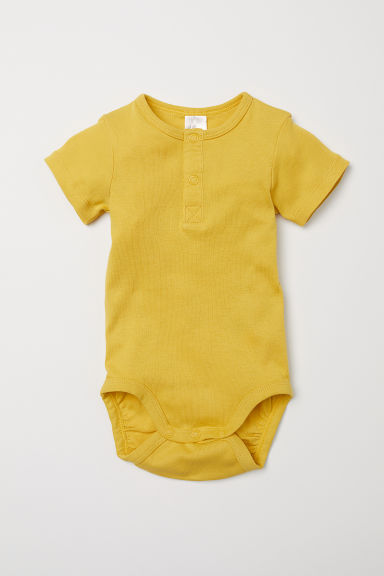 Short-sleeved bodysuit - Yellow - Kids | H&M CN