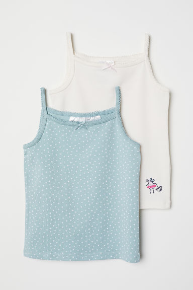 2-pack vest tops - Natural white/Mint green - Kids | H&M