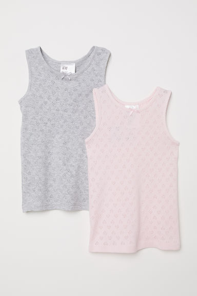2-pack jersey vest tops - Light pink/Light grey - Kids | H&M CN