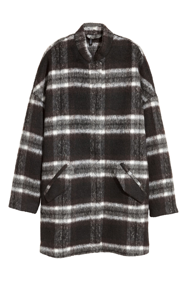 Coat in bouclé yarn - Black/White checked -  | H&M