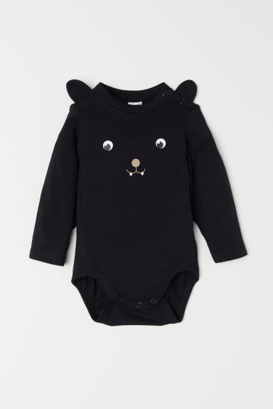 Long-sleeved bodysuit - Black/Bat - Kids | H&M