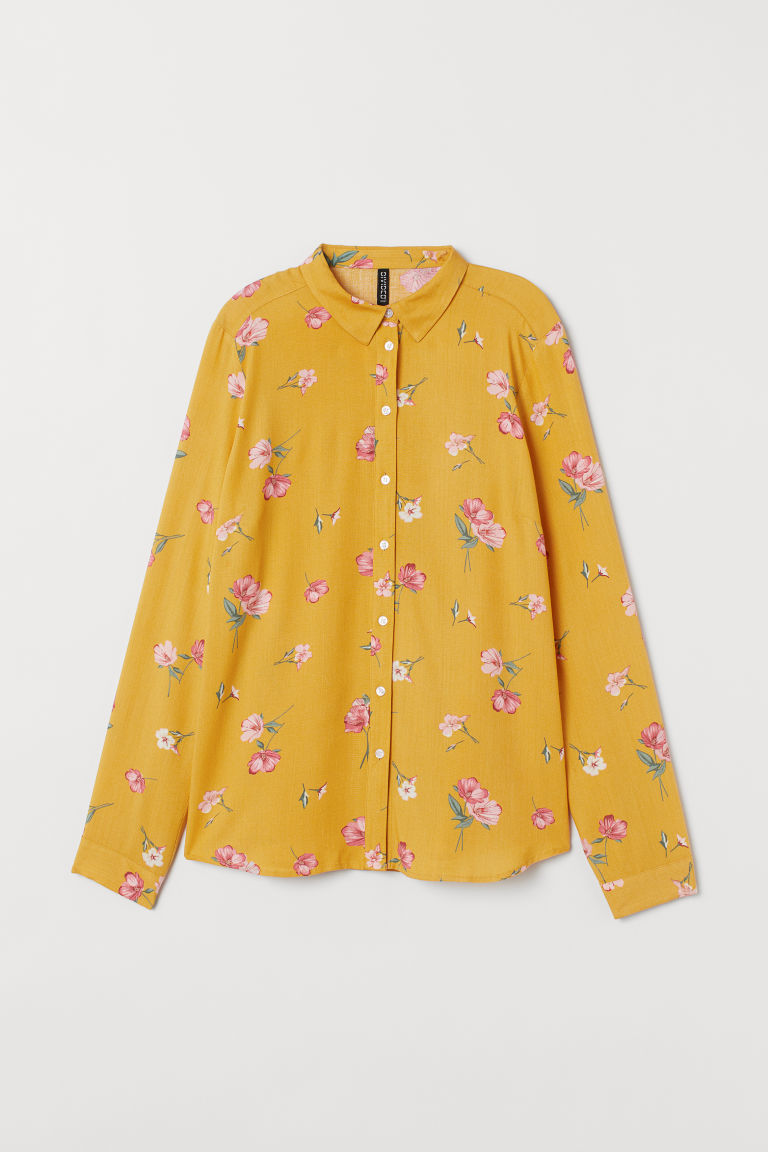 Viscose shirt - Yellow/Floral -  | H&M