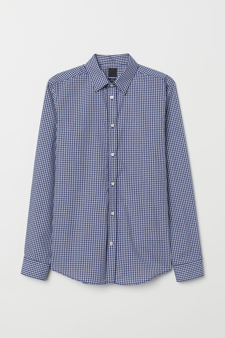 Easy-iron shirt Slim fit - Blue/White checked - Men | H&M