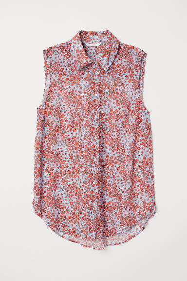 Sleeveless blouse - Light blue/Floral - Ladies | H&M