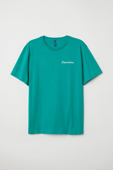 T-shirt with a motif - Turquoise/Superdeluxe - Men | H&M