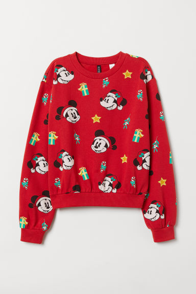 Sweatshirt with a motif - Red/Mickey Mouse -  | H&M CN