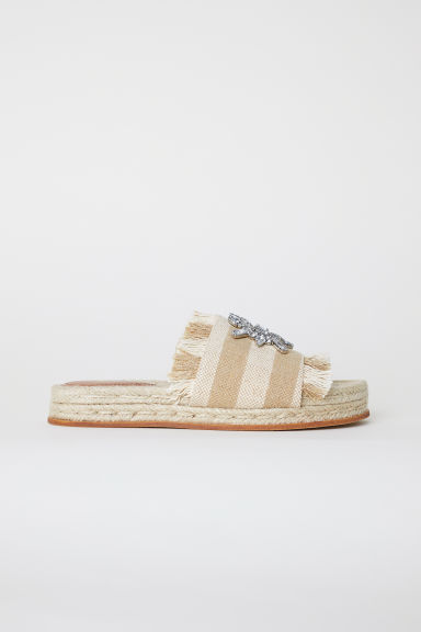 Slides - Beige/Sparkly stones - Ladies | H&M