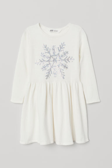 Dress with a sequined motif - White/Snowflake - Kids | H&M CN