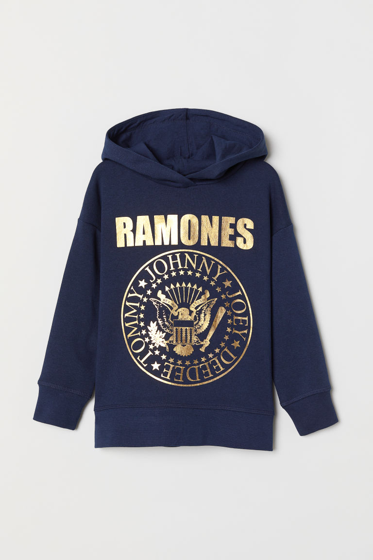 Printed hooded top - Dark blue/Ramones - Kids | H&M CN