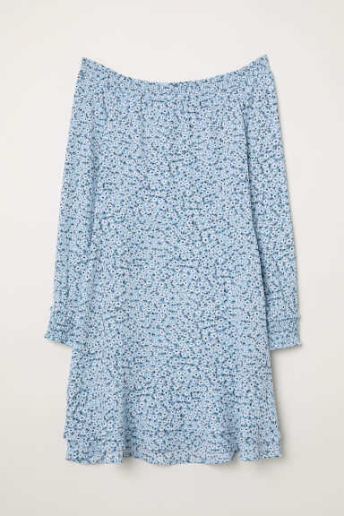 Crêpe dress with smocking - Light blue/Floral -  | H&M