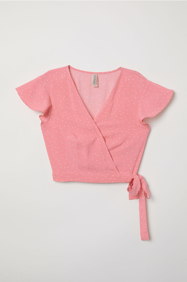 be778c175ddc52 V-neck wrapover blouse - Raspberry pink/Spotted - | H&M ...