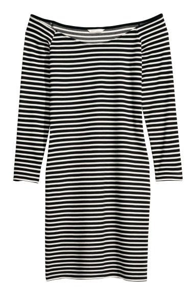 Off-the-shoulder dress - Black/White striped -  | H&M