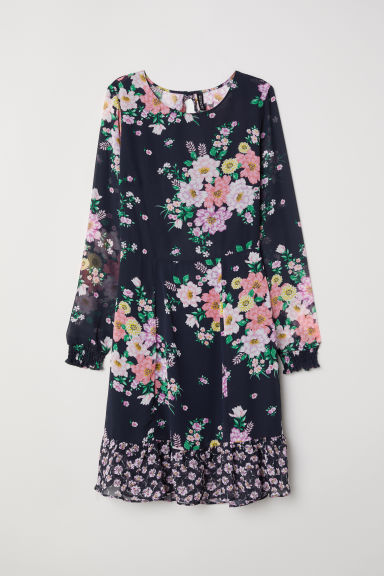 Patterned chiffon dress - Dark blue/Floral -  | H&M CN