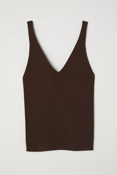 Ribbed top - Dark brown - Ladies | H&M CN