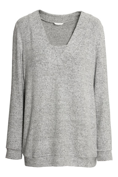 MAMA Fine-knit nursing jumper - Light grey marl -  | H&M