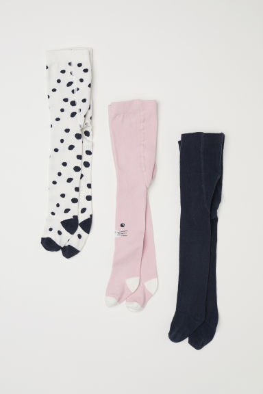 3-pack tights - Dark grey/Spotted -  | H&M