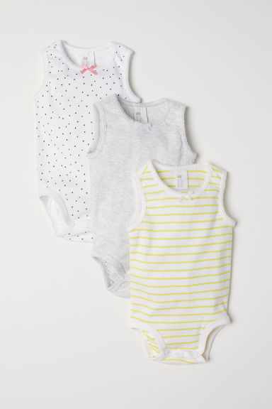 3-pack scallop-trim bodysuits - White/Yellow striped - Kids | H&M