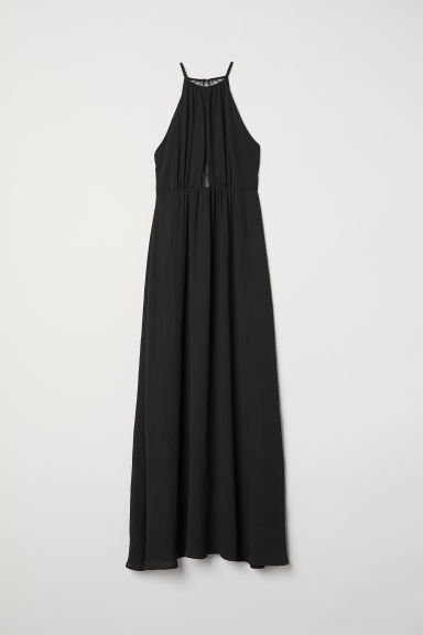 Long dress with a lace back - Black - Ladies | H&M