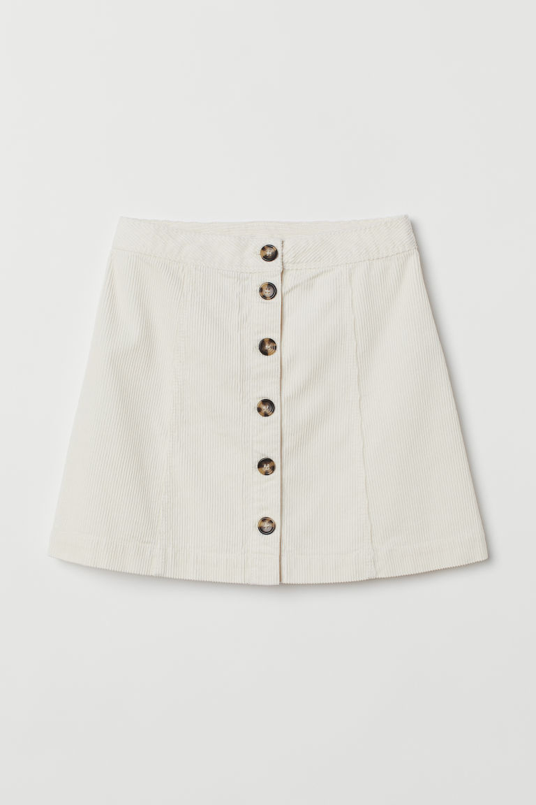 A-line skirt - Natural white/Corduroy -  | H&M IE