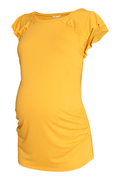 MAMA Flounce-sleeve jersey top - Mustard yellow - Ladies | H&M CN
