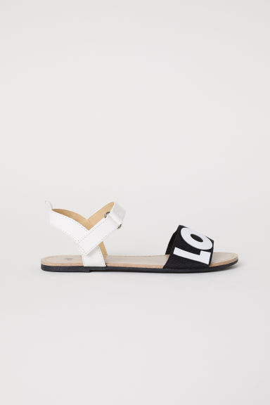 Text-print sandals - White/Black - Kids | H&M CN