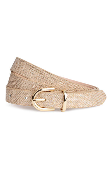 Narrow Belt - Gold-colored/glittery - Ladies | H&M CA