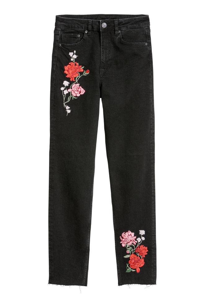 607db80c310 Slim Mom Jeans - Black denim/flowers - | H&M ...