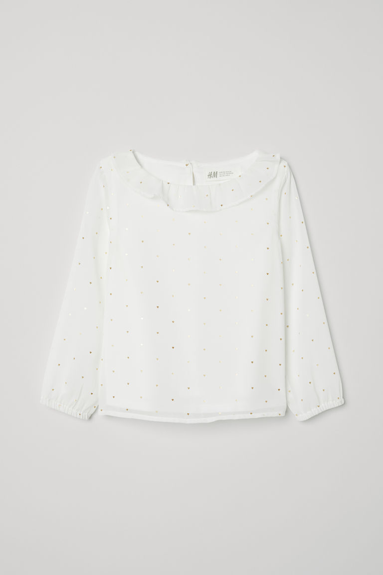 Blouse with a frilled collar - White/Hearts - Kids | H&M GB