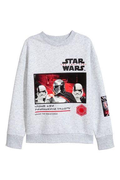 Printed sweatshirt - Light grey marl/Star Wars - Kids | H&M