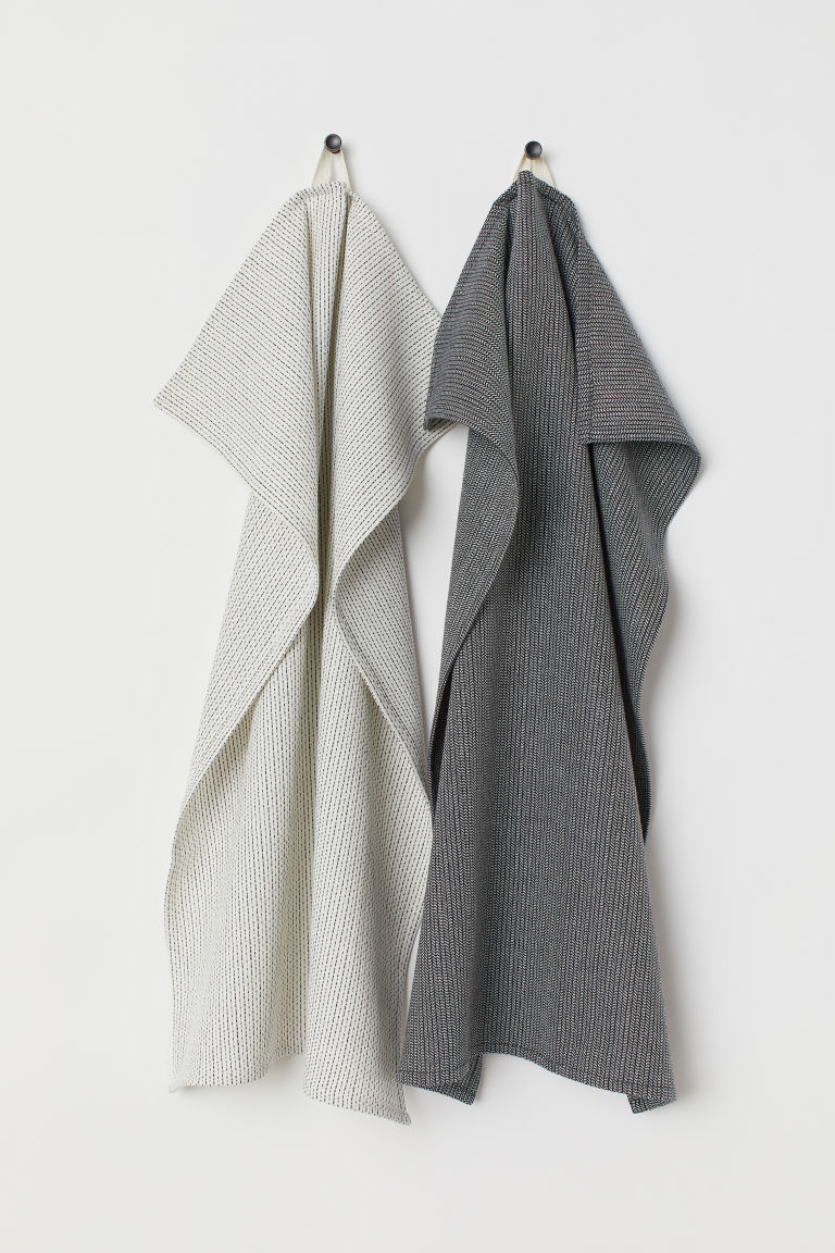 2-pack Cotton Tea Towels - Natural white/dark gray - Home All | H&M CA